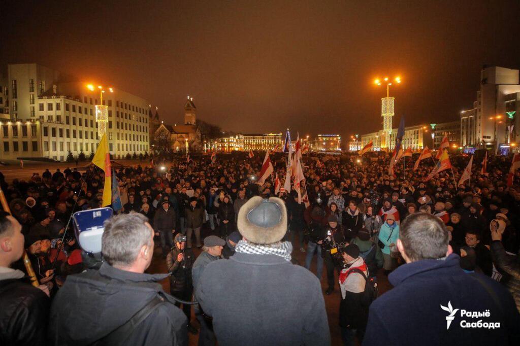 Выступление Николая Статкевича на митинге в защиту независимости Беларуси. Площадь Независимости, 20 декабря 2019 года.